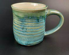 Ceramics Pottery Mugs, Stoneware Mugs, Ceramic Mugs, Ceramic Pottery, Pottery Wheel Diy, Light In The Dark, Dark Blue, Handmade Pottery, Handmade Gifts