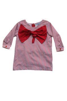 Little Babushka - Red striped bow shirt