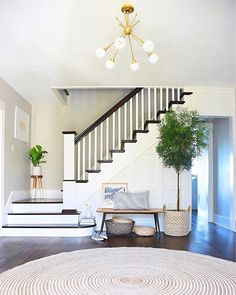 "Entry Refresh (Again) + Thoughts on ""Finishing"" a Space - House Updated Staircase Wall Decor, House Design, Landing Decor, Updating House, Staircase Decor, House Interior, Coastal Living Rooms, Staircase Makeover, Stairs Design"