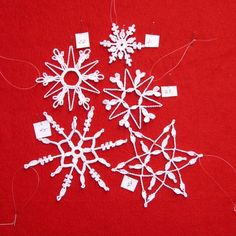 PDF Patterns for 5 Crocheted Snowflakes set 5 by TheNeedleWorks