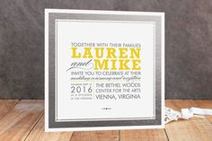"""""""Cocktail Hour"""" - Modern, Simple Foil-pressed Wedding Invitations in Corn Yellow by Ariel Rutland."""
