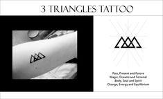 triangle tattoo - Pesquisa Google  Passado, presente e futuro Mágica, sonhos e terrenal Corpo, alma e espírito Mudança, energia e equilíbrio