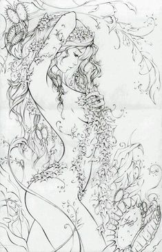 Over the Hills and Far Away by *ellfi on deviantART - detailed pen drawing Poster Design, Coloring Book Pages, Colorful Pictures, Line Art, Fantasy Art, Art Drawings, Abstract, Artwork, Watercolor Mermaid