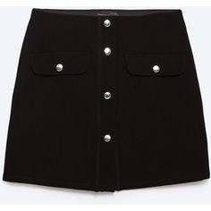 Zara Miniskirt With Press Studs ($9.99) ❤ liked on Polyvore featuring skirts, mini skirts, bottoms, black, mini skirt, zara skirts, short mini skirts and short skirts