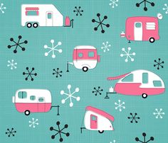 Julie's Campers Pink/TurQ fabric by juliesfabrics on Spoonflower - custom fabric