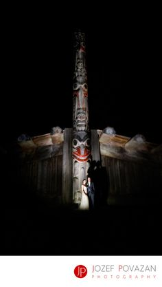 UBC Wedding at MOA, night totem portrait with bride and groom - by Best Award…