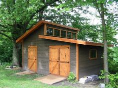 Wood Shed Build DIY Garden Shed – The Owner-Builder Network The Iron Gazebo Article Body: The iron g Diy Storage Shed Plans, Wood Storage Sheds, Wood Shed, Storage Ideas, Garden Shed Diy, Backyard Sheds, Outdoor Sheds, Outdoor Gardens, Big Doors