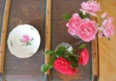 #2Flowergirls Rosen aus dem Garten in der Vase und auf Meissner Porzellan von Oma happyhomeblog