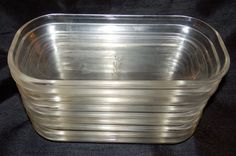 Vintage Lot of 9 Federal Glass Clear Oblong Dishes Dessert Bowls Snack Serving
