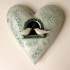 Heart ceramic  wall hanging For Love great wedding by jmrpottery, $65.00