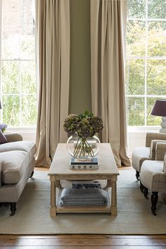 Edinburgh coffee table and natural linen curtains #curtains #living #neptune www.neptune.com
