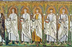 Mosaic Icon of the Procession of Martyrs, century, Basilica di Sant'Apollinare Nuovo, Ravenna Ravenna St Polycarp, St Cornelius, Saints, St Sebastian, Art Antique, Byzantine Art, Early Christian, Religious Icons, Mosaic Art