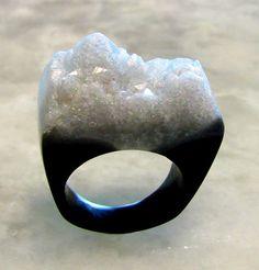 Druzy Agate Ring, Resin Rings, Angel Licorice Ring, Black Resin Rings, Faux Agate Druzy Rings, Black Trending Unique Rings, ResinHeavenUSA by ResinHeavenUSA on Etsy https://www.etsy.com/listing/285396769/druzy-agate-ring-resin-rings-angel