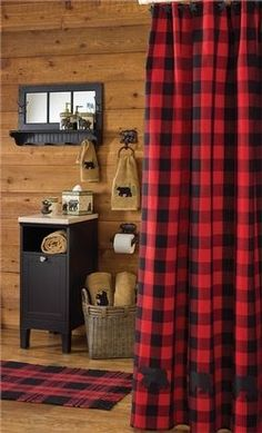 Red Plaid Moose Decor Bathroom | Buffalo Check Bear Shower Curtain