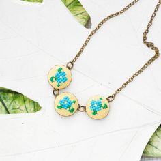 Floral necklace Embroidered necklace Spring flowers by skrynka