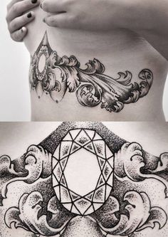 Baroque/dotwork style under the breast tattoo.