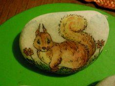 scoiattolo, acquerello su pietra