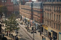 From the Sheffield Wheel. Bird's eye view looking south along Pinstone Street. Sources Of Iron, Happy City, Industrial Development, South Yorkshire, Derbyshire, Birds Eye View, Sheffield, Old And New, Rome