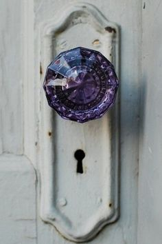 purple glass door knob by Anonymiss
