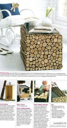 Making a wood endtable by covering a box/cube with wooden rounds and sticks, attaching with hot glue. This is cute and inexpensive to make - it would even work with a cardboard box.