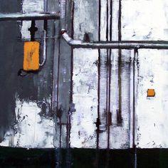 """Ruggiero Spadaro """"FABRICA #015""""  Tecnica mista su tela cm. 30 x 30  Anno 2004"""