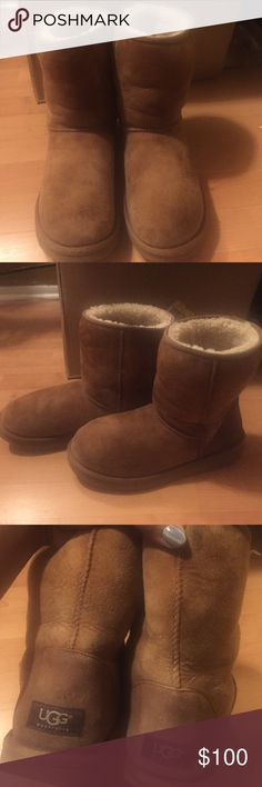 Short Chestnut Uggs Authentic. Cute af & well taken care of. winter boots or spring . . whatever floats your boat. I love these - they're so beautiful. But like I said 3000 pairs of uggs lol. Snag these babies before someone else does & start your fall wardrobe early :) They're a 10 but I wear a 9 and they fit great. I always get a size up in uggs because of all the fur so it gives me more space. Make me an offer!! PINK Victoria's Secret Shoes Winter & Rain Boots