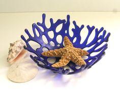 Love these ~ Cobalt Blue Ocean Beach Sea Coral Art Glass