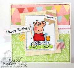 """Peppa pig card """"snort"""" idea. Could b a good invite style"""