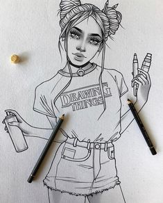 New illustrations, sketches and original art work by Rik Lee — Rik Lee Neue Illustrationen, Skizzen Girl Drawing Sketches, Cute Girl Drawing, Girl Sketch, Illustration Sketches, Art Illustrations, Croquis Drawing, Tumblr Girl Drawing, Tumblr Drawings, Cool Art Drawings