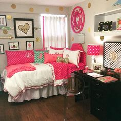 This pink dorm bedding creates such a cute dorm room! Girls Dorm Room, Girl Room, Pink Bedrooms, Room Inspiration, Dream Rooms, Bedroom Decor, Preppy Dorm Room, Dorm Room Decor, Hot Pink Bedrooms