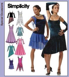 Simplicity 4744  Ballroom dancing dresses - 8 views plus two views of arm gauntlets. Made one of the long dresses once.