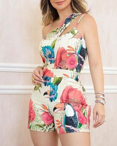 One Shoulder Floral Print Casual Romper - Women Store