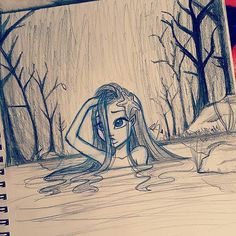 cute sad girl in a river drawn by Christina Lorre