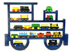 Wooden Wall Storage Train Rack Organizer Display by WhatAboutWood