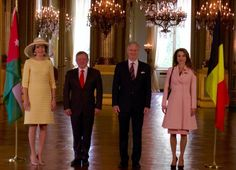 Belgian Royal Palace @MonarchieBe Official welcoming ceremony for Their Majesties King Abdullah II and @QueenRania in #Brussels #JORoyalVisit