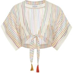Miguelina Saanchi Stripe Blouse (3.202.320 IDR) ❤ liked on Polyvore featuring tops, blouses, stripe, white crop top, cut-out crop tops, stripe blouse, metallic blouse and crop tops