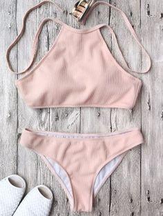 Bordás textúrájú Nagy Neck Bikini Set - Pink S