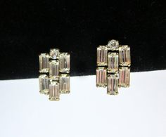 art deco baguette rhinestone earrings