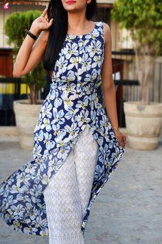 Buy Multicolor Printed Crepe Long Kurti Online in India Kurti Back Neck Designs, Dress Neck Designs, Latest Dress Design, Stylish Blouse Design, Kurta Patterns, Dress Patterns, Churidar, Anarkali, Indian Designer Suits