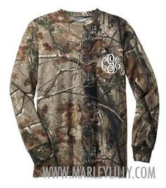 Monogrammed Long Sleeve Camo T-Shirt from Marley Lilly