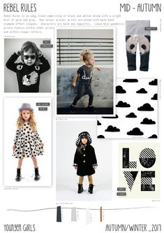 Rebel rules is an edgy younger girls trend for Autumn/Winter It has a simple colour palette of mainly black and white mixed wit. 2016 Fashion Trends, 2016 Trends, Girl Trends, Fashion Forecasting, Stylish Kids, Baby Leggings, Kind Mode, Kids Outfits, Kids Fashion