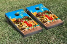 Margaritaville's It's 5 O'Clock Somewhere Cornhole Set with logo corn hole bags