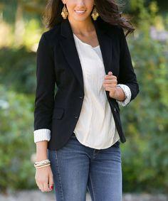 This Black Francesca Elbow Patch Blazer - Women - Women by White Plum is perfect! #zulilyfinds