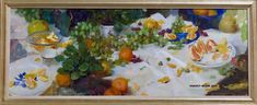 """ Grapes & Grapefruit"" SOLD  oil 48"" x 18"" ©Nancy Guzik ©This image is under strict copyright to the artist and may not be reproduced in any form"