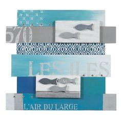 Tableau à lattes en bois bleu 45 x 50 cm MER DES ÎLES