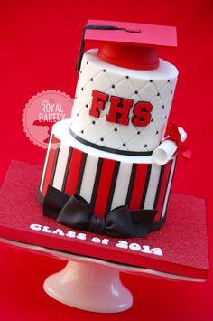 "High School Graduation Cake A graduation cake in high school colors. 7/5"" 3"" half styro ball grad cap."