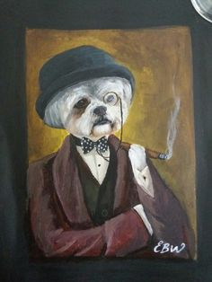 A5 ACRYLIC dog cigar and bowler hat - by Emily Willmott