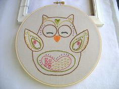 Embroidery Pattern PDF   Spring Owl Hearts Flowers. $4.00, via Etsy.