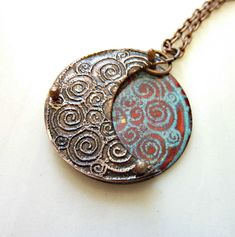 Double Spiral Crescent Half Moon Pendant, Enameled, Etched, Riveted on Copper, Layered Copper, Artisan Jewelry, Mixed Media, OOAK, 3D by RedAvaDesigns on Etsy https://www.etsy.com/listing/231517292/double-spiral-crescent-half-moon-pendant