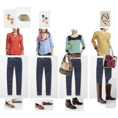 Polka dot pants 4 ways - anthro style Polka Dot Jeans, Polka Dots, Minimalist Wardrobe, Printed Pants, Pants Outfit, Photo Style, One Piece, Style Inspiration, Fashion Outfits
